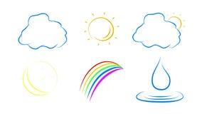 Ícones do tempo ajustados no fundo branco Logotipo Handdrawn da natureza do tempo ilustração stock
