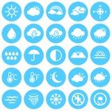 Ícones do tempo, clima, previsão de tempo, estações Imagens de Stock Royalty Free