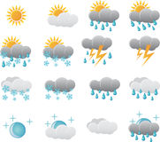 Ícones do tempo da meteorologia ilustração stock