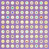 100 ícones do tempo de viagem ajustados no estilo dos desenhos animados Imagens de Stock