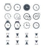 Ícones do tempo e do pulso de disparo no fundo branco Ilustração do vetor Fotos de Stock Royalty Free