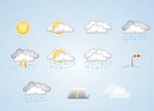Ícones do tempo - ensolarados, nebulosos, chuva, neve e mais Foto de Stock