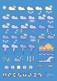 Ícones do tempo no fundo azul Foto de Stock Royalty Free