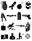 Ícones do terrorismo ajustados ilustração do vetor