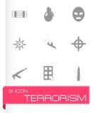 Ícones do terrorismo do vetor ajustados ilustração do vetor