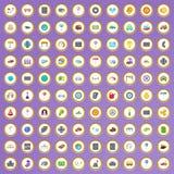 100 ícones do tráfego ajustados no estilo dos desenhos animados Fotografia de Stock