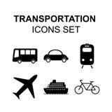 Ícones do transporte ajustados Símbolos do vetor da silhueta do curso Fotografia de Stock Royalty Free