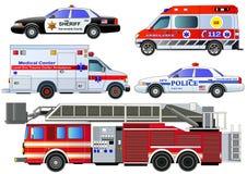 Ícones do transporte da emergência ajustados Grupo do vetor, isolado ilustração royalty free