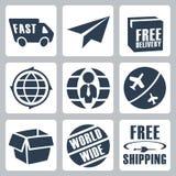Ícones do transporte do vetor ajustados Imagens de Stock Royalty Free