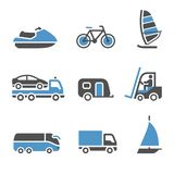 Ícones do transporte - um jogo do terceiro Imagem de Stock
