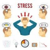 Ícones do transtorno mental e do esforço ajustados ilustração stock