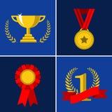 Ícones do troféu e das concessões ilustração do vetor