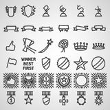Ícones do troféu e das concessões ajustados Imagem de Stock Royalty Free