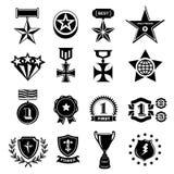 Ícones do troféu e das concessões ajustados ilustração stock
