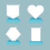 Ícones do troféu e das concessões ajustados Símbolos lisos da ilustração com espaço vazio ilustração royalty free