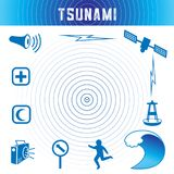 Ícones do tsunami, azul de oceano ilustração do vetor