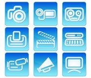 Ícones do vídeo da foto Fotos de Stock