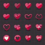 Ícones do Valentim e do coração Foto de Stock Royalty Free