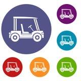 Ícones do veículo do clube de golfe ajustados ilustração royalty free