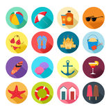 Ícones do verão da praia Foto de Stock