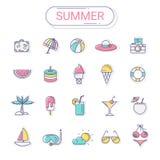 Ícones do verão e do feriado ajustados ilustração stock