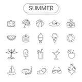 Ícones do verão e do feriado ajustados ilustração do vetor
