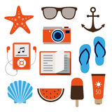 Ícones do verão no estilo liso do projeto Fotos de Stock
