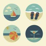 Ícones do verão retros Fotografia de Stock