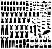 Ícones do vestido e dos acessórios ajustados Coleção fêmea de pano e de acessórios Dres Imagem de Stock Royalty Free