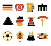 Ícones do vetor ajustados criando o infographics relativo a Alemanha, como a calças de couro, caneca de cerveja, pretzel, ilustração royalty free