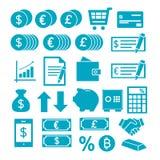 Ícones do vetor ajustados criando o infographics sobre finanças, compra, economia ilustração do vetor
