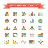 Ícones do vetor ajustados de Infographic no chiqueiro liso do projeto Foto de Stock Royalty Free