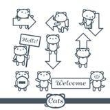 Grupo de símbolos do vetor dos ícones 9 dos gatos: setas Imagens de Stock