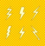 Ícones do vetor ajustados: Relâmpagos, cores alaranjado do papel Art Style, amarelo e ilustração royalty free