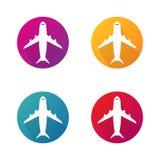 Ícones do vetor do avião no círculo Aviões em volta dos botões do vetor para o Web site Vetor EPS 10 ilustração royalty free