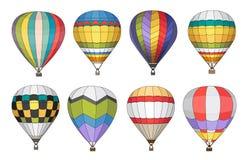 Ícones do vetor do balão de ar quente ajustados Foto de Stock