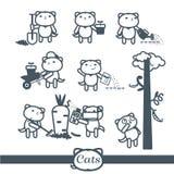Ícones do vetor dos gatos. Grupo de 8 símbolos: jardinagem Foto de Stock