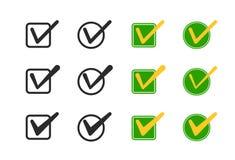 Ícones do vetor da caixa de verificação ajustados Fotografia de Stock Royalty Free