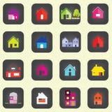 Ícones do vetor da casa ajustados ilustração royalty free