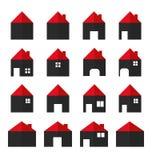Ícones do vetor da casa ajustados Casas dos bens imobiliários?, planos para a venda ou para o aluguel Fotos de Stock