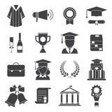 Ícones do vetor da cerimônia da certificação do dia de graduação Fotos de Stock