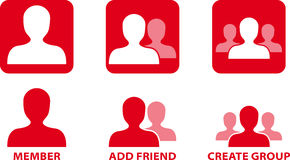 Ícones do vetor da comunidade da rede Imagens de Stock Royalty Free
