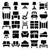 Ícones 8 do vetor da construção & da mobília Fotografia de Stock Royalty Free