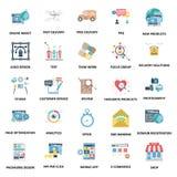 Ícones do vetor da cor dos conceitos do negócio ajustados ilustração royalty free