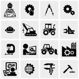 Ícones do vetor da engenharia ajustados no cinza Fotografia de Stock