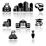 Ícones do vetor da escola de negócios ajustados EPS10 Fotos de Stock Royalty Free