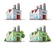 Ícones do vetor da fábrica no estilo dos desenhos animados. Fotografia de Stock Royalty Free