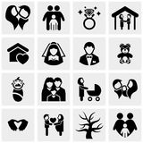 Ícones do vetor da família ajustados no cinza Foto de Stock Royalty Free