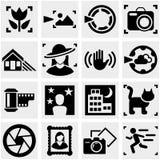 Ícones do vetor da foto ajustados no cinza. Imagem de Stock Royalty Free