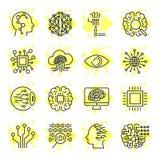Ícones do vetor da inteligência artificial Ícones para locais, apps, programas AI, microplaqueta, cérebro, processador e outro Cu Imagem de Stock Royalty Free